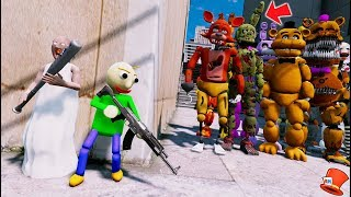 ADVENTURE BALDI & GRANNY HIDE FROM THE EVIL ANIMATRONICS! (GTA 5 Mods For KIDS FNAF RedHatter)