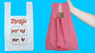 REUSABLE SHOPPING BAG! AMAZING RECYCLING OF AN OLD SHIRT INTO A CLOTH BAG!
