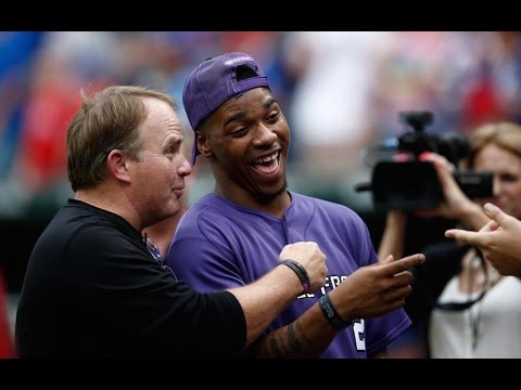 Trevone Boykin Throws First Pitch at Rangers Game