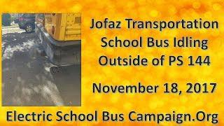 Jofaz Hybrid School Bus Idling outside of PS 144