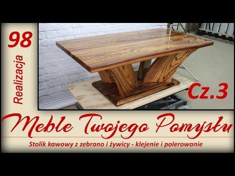 Cz.3 Stolik kawowy z zebrano i żywicy - klejenie i polerowanie / Coffee table with resin - polishing