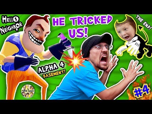 Hello Neighbor Back Stabber Alpha 4 Basement Trolls Trick Fgteev Pt 4 The End Finale Bendy Ink