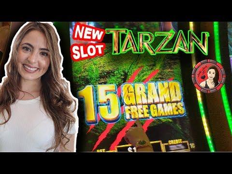 1st Time Playing Tarzan Slot Machine W/ 15 Grand Free Games!