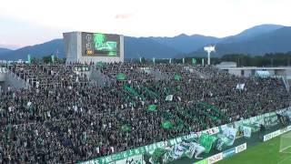 松本山雅のホームゲームで選手紹介の後に行われる「ワンソウル」のコー...