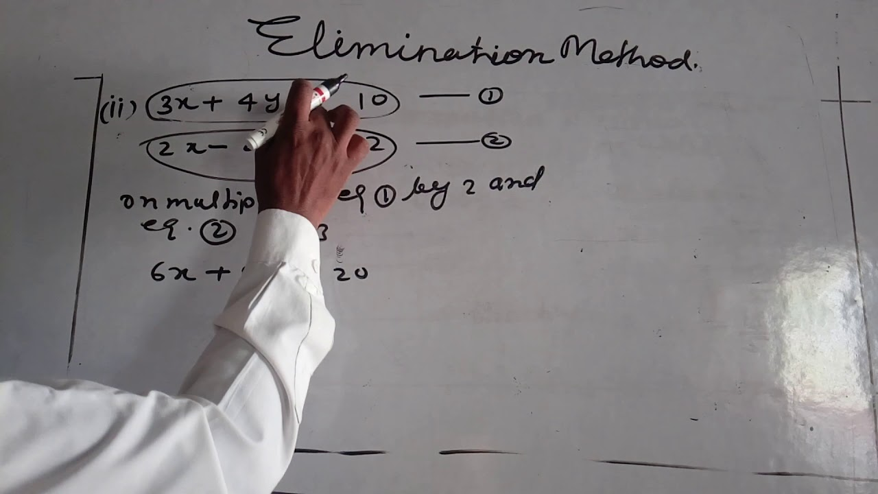 Solve the equation by elimination      method class 10