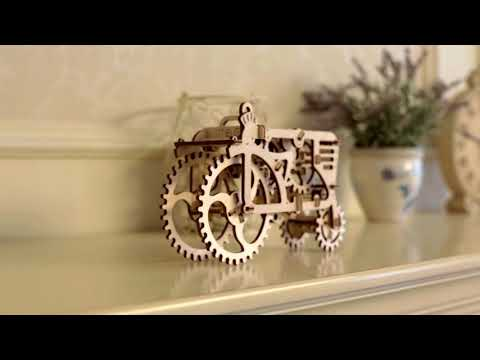 Ugears Tractor | Wood Puzzle Trailer, Tractor | Construction Sets for Kids | STEM Projects for Kids