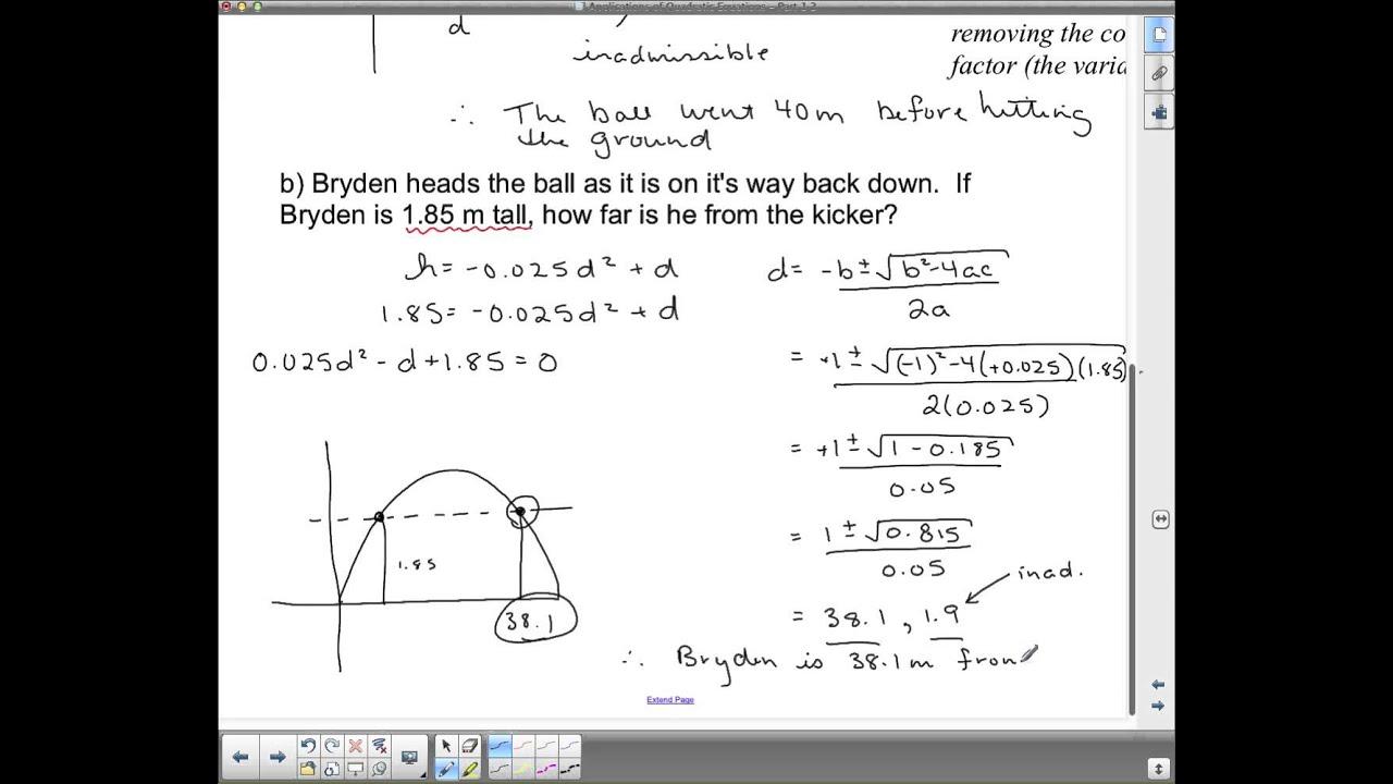 Mpm 2d U6l5 Applications Of Quadratic Equations