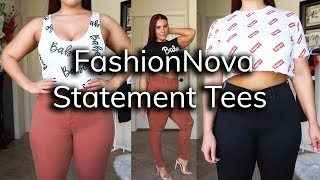 FashionNova Statement Tees Try-On Haul | Ruby Red