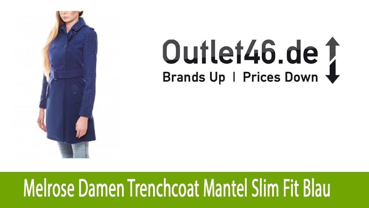 Melrose Damen Trenchcoat Mantel Slim Fit Blau   Outlet46.de - YouTube 4e8b9ac062