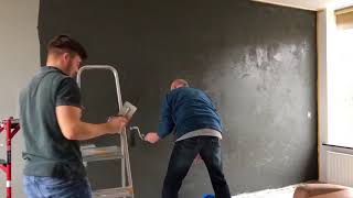 Betonlook aanbrengen op de wand (instructie video) (Concrete look)