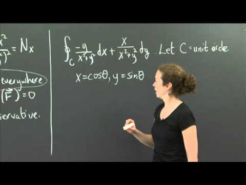 Non-conservative vector fields | MIT 18.02SC Multivariable Calculus, Fall 2010