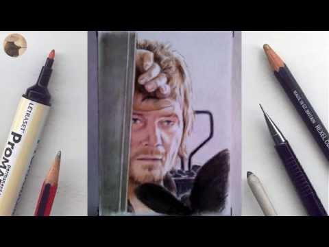 Daryl (Walking Dead) miniature portrait timelapse video