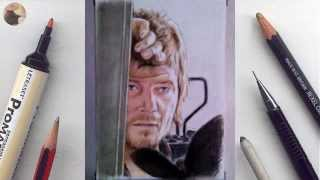 Daryl (Walking Dead) miniature portrait timelapse video