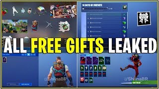 *NEW* ALL 14 DAYS OF FORTNITE GIFTS LEAKED! *Emotes,Glider, Ginger Bread Pet, & More!*