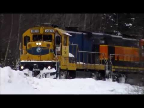 Chasing Central Maine & Quebec Railway back to Northern Maine Junction - 2/7/2015