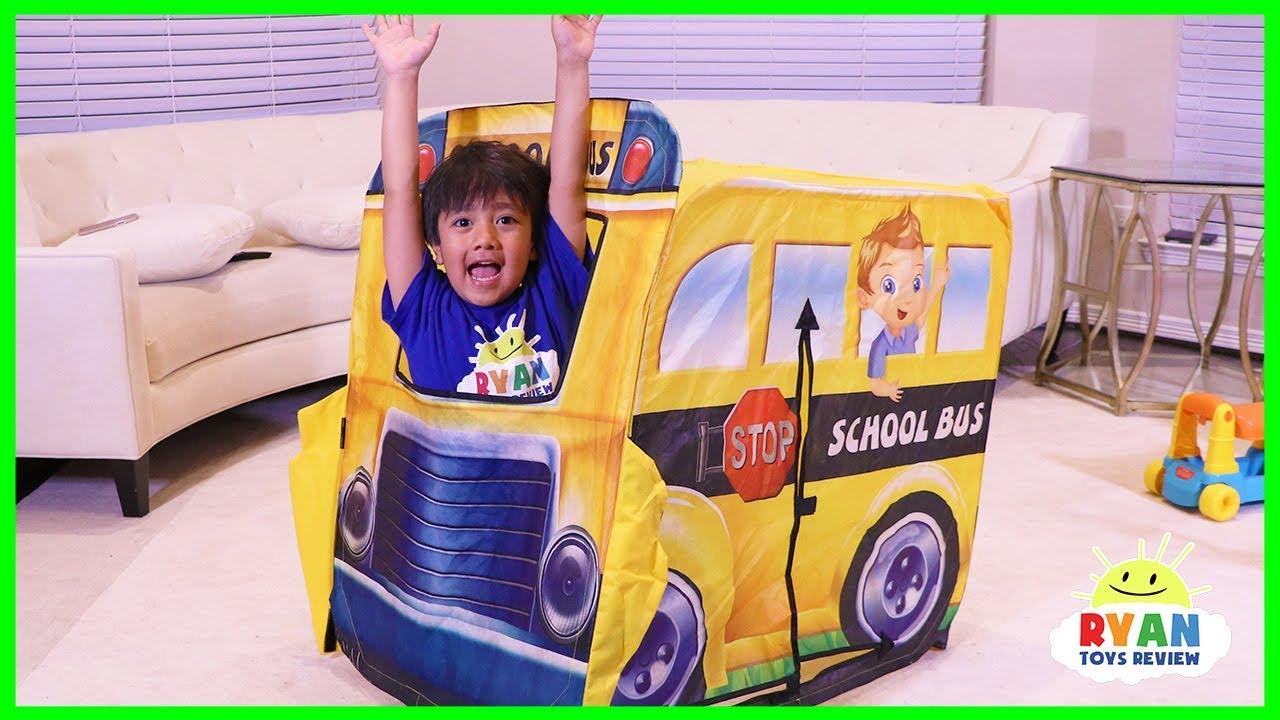 Ryan Pretend Play with School Bus Tent Fun!  sc 1 st  YouTube & Ryan Pretend Play with School Bus Tent Fun! - YouTube