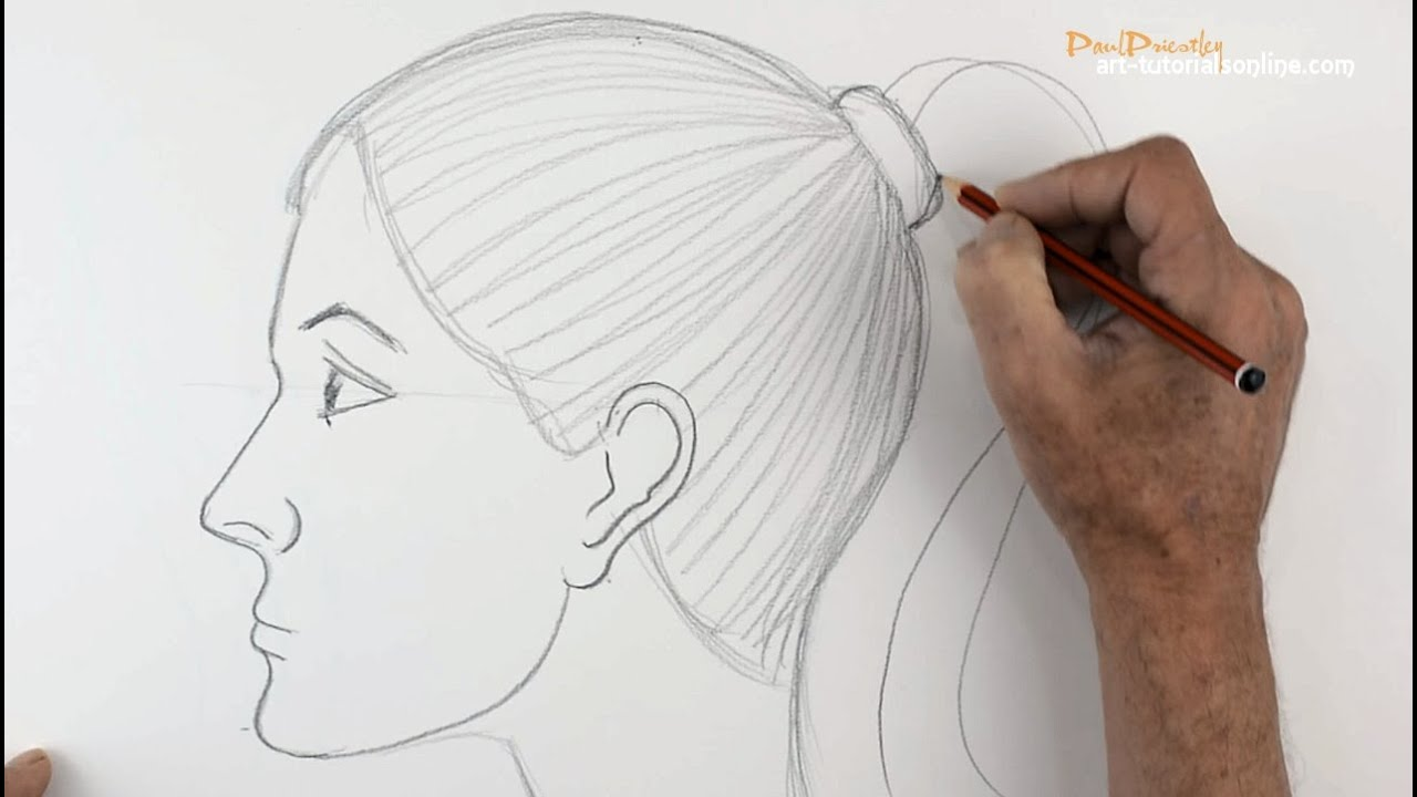 how to draw a girl s face side view beginners [ 1280 x 720 Pixel ]