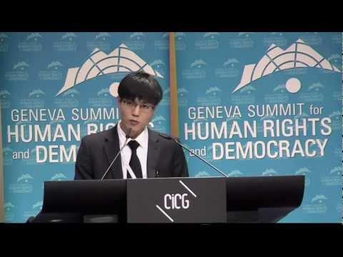 Survivor of North Korean camp Dong-hyuk Shin at 2013 Geneva Summit for Human Rights
