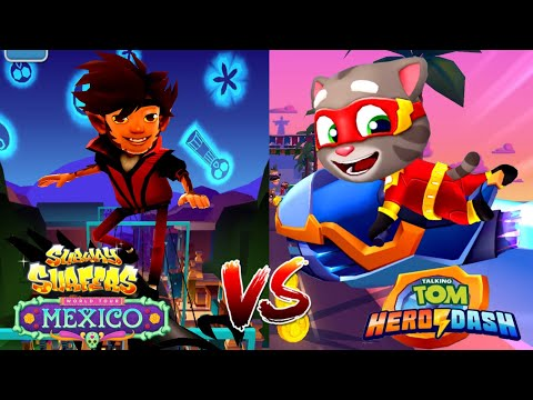 Talking Tom Hero Dash VS Subway Surfers MEXICO Соревнование Супер Том VS Mike Owl Outfit