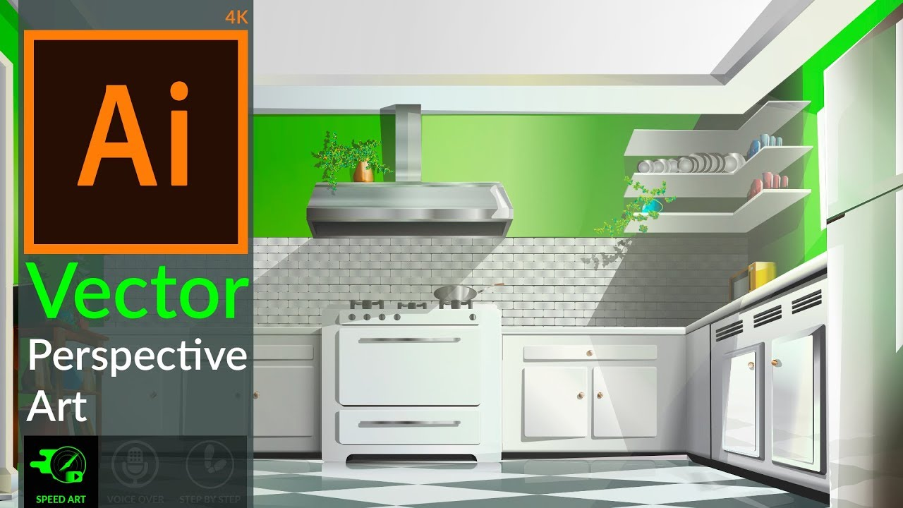 Speed Art Drawing Vector Perspective 3d Kitchen In Adobe