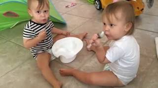 Toddler twins are eating out of their potty