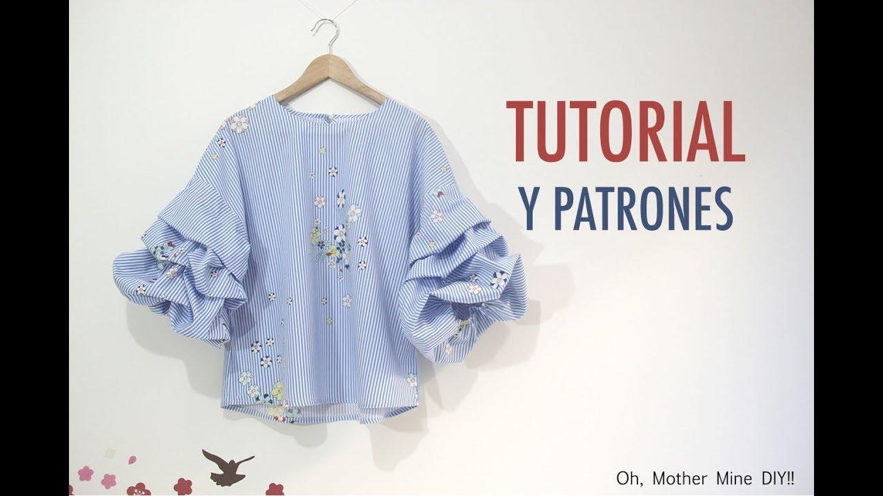 DIY Costura de blusa con mangas abullonadas (Patrones gratis) - YouTube