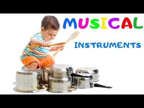 Music For Kids. Learn Musical Instruments And Sounds For Children Drums Cymbals Tambourine Xylophone