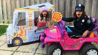 Sally Pretend Play Drive Thru with Pizza and Power Wheels Ride On Car!!
