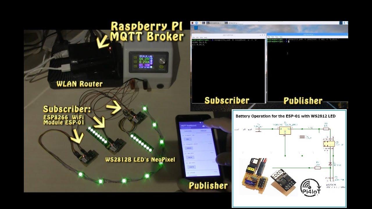 ESP8266 Part #9 – MQTT & Neopixel WS2812 Light-Controller ESP01