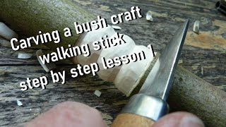 How to Carve a bush craft walking stick  v-cut, stop cut, ring- lesson 1