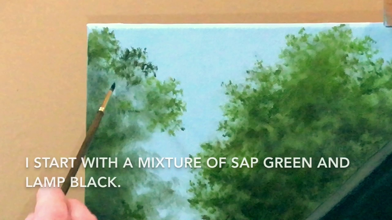 Oil Painting Basics - How To Paint Leaves On a Tree In Oils - YouTube
