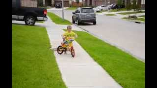 3 Year Old Bryce Rides Bike Without Training Wheels - Taught himself!