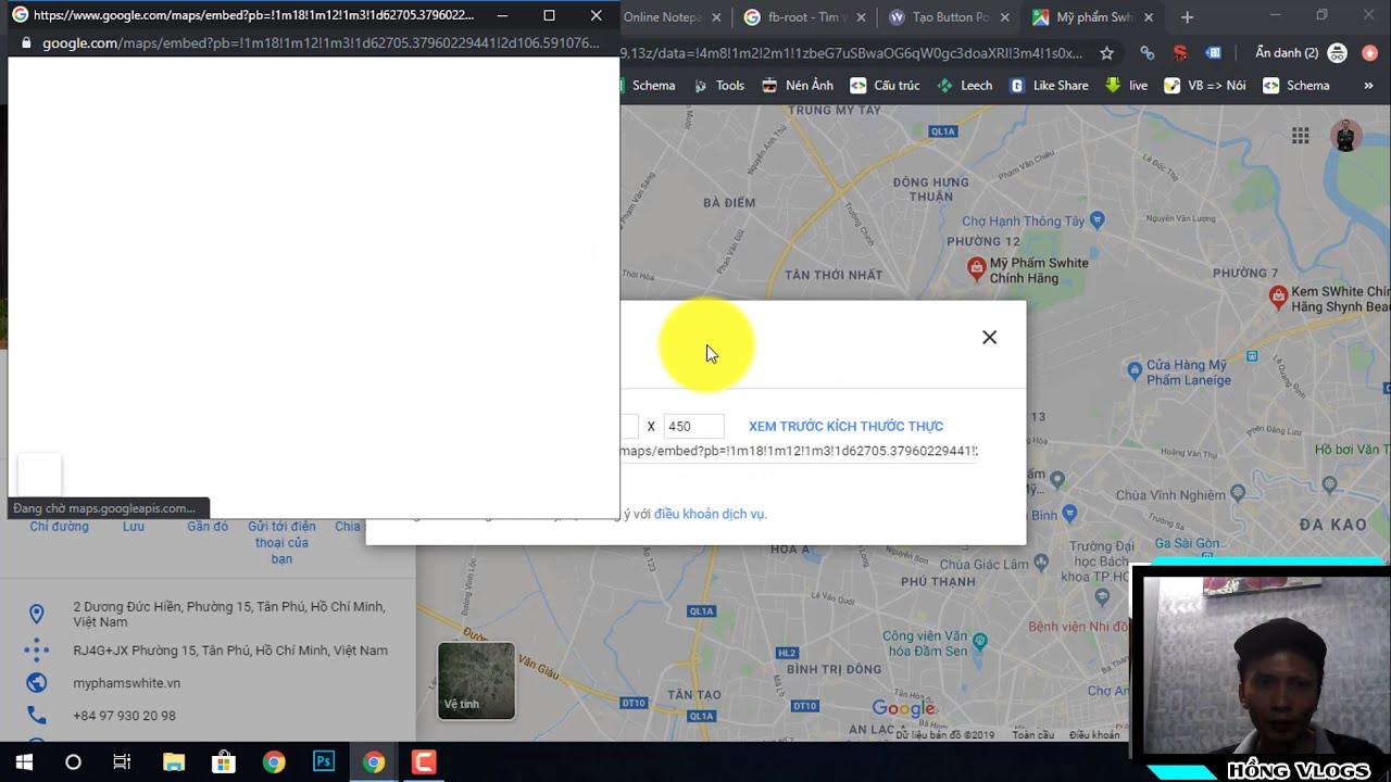 Code Button Popup Form liên hệ, kèm Google Maps cho Blogspot || Hồng Vlogs