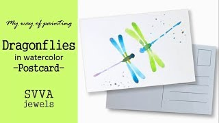 Painting Two Colorful Dragonflies in Watercolor Postcard, No Pre-Drawing