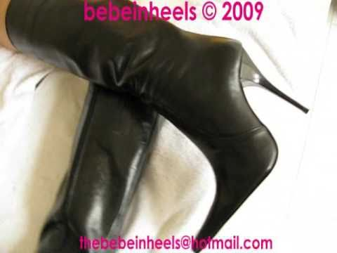Sexy Fetish Liza wears black leather dress and Arollo Crotch high boots. from YouTube · Duration:  45 seconds