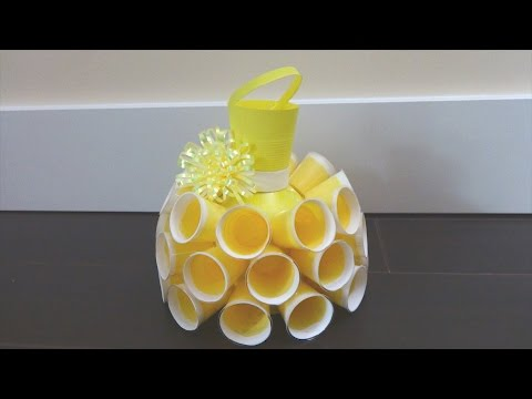 Recycling Ideas: Beautiful Dress out of Plastic Bottles and Cups - Recycled Bottles Crafts