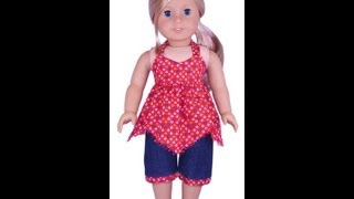 American Girl Doll Clothes Patterns Handkerchief Top & Capri Pants - Preview