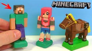 МАЙНКРАФТ из ПЛАСТИЛИНА - Диана Найкова, Хиробрин и Лошадь | Minecraft with Clay