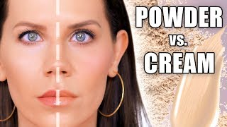 HALF CREAM vs  HALF FACE POWDER MAKEUP