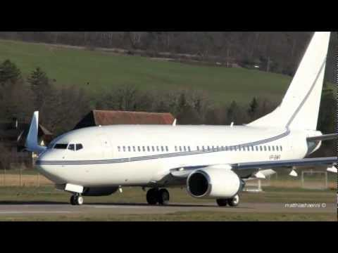 Boeing 737-79T Take Off at Airport Bern-Belp - Great Engine Sound & View of Swiss Alps
