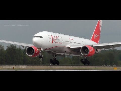 Vim Airlines Boeing 777 & Boeing 757 are landing at Saint Petersburg airport.