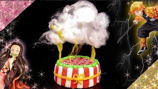 鬼滅の刃 【わたあめ雷ケーキ⚡️】善逸🌸禰󠄀豆子で雷の呼吸!ぜんねずの可愛くてかっこいいデコレーションを手作り♪再現料理の作り方✨Demon Slayer cake
