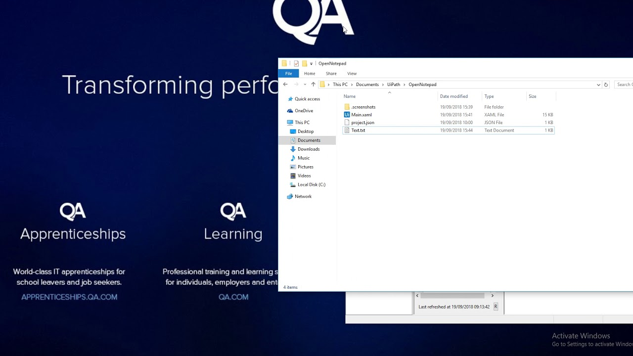 UiPath Open Notepad