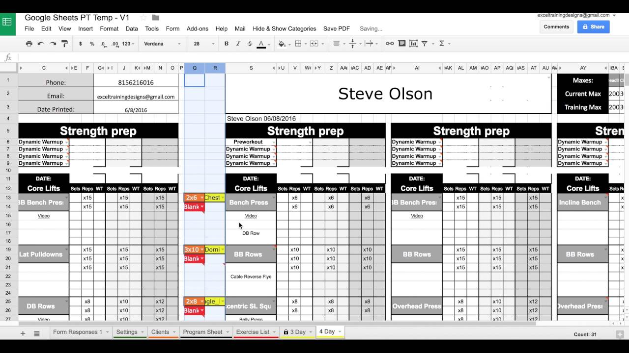 Google sheets personal training templates exercise for Personal training program template
