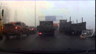 ДТП  Нам просто повезло! СПб Киевское шоссе Туман 26 02 2015