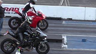 H2 Ninja vs Ducati Panigale V4 drag race