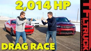 Surprising Photo Finish! BMW M5 vs Hellcat vs Trackhawk Drag Race