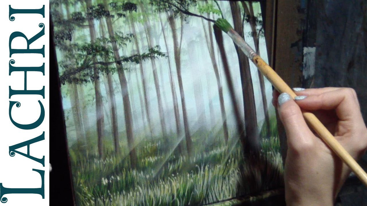 How to paint grass and a forest  Time Lapse Demo by