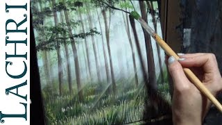 How to paint grass and a forest  - Time Lapse Demo by Lachri