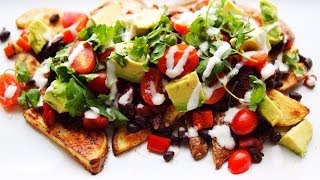 Black Bean & Potato Nacho Plate